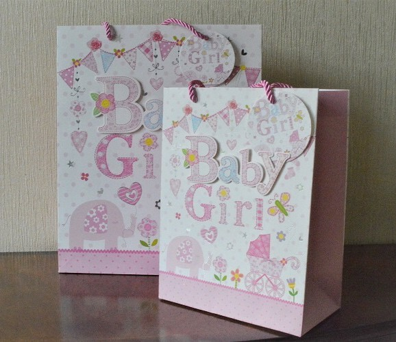 Baby Gift Bags Uk : Medium large d baby girl gift bags tag