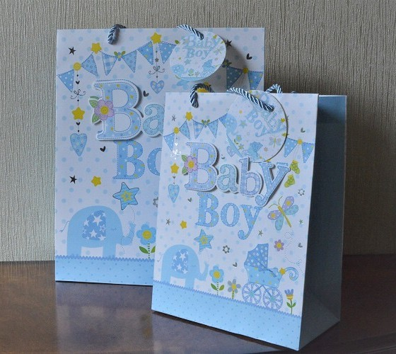 Baby Gift Bags Uk : Medium large d baby boy gift bags tag
