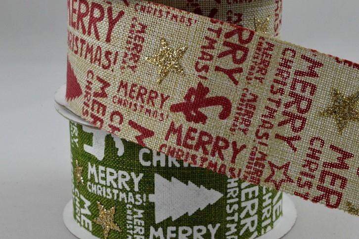 46015 - 38mm Merry Christmas Tree & Star Printed Ribbon x 10 Metre Rolls!!