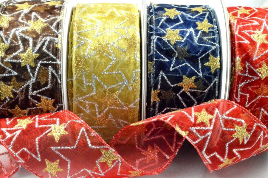 46031 - 38mm Wired Sheer Glitter Star Ribbon x 10 Metre Rolls!