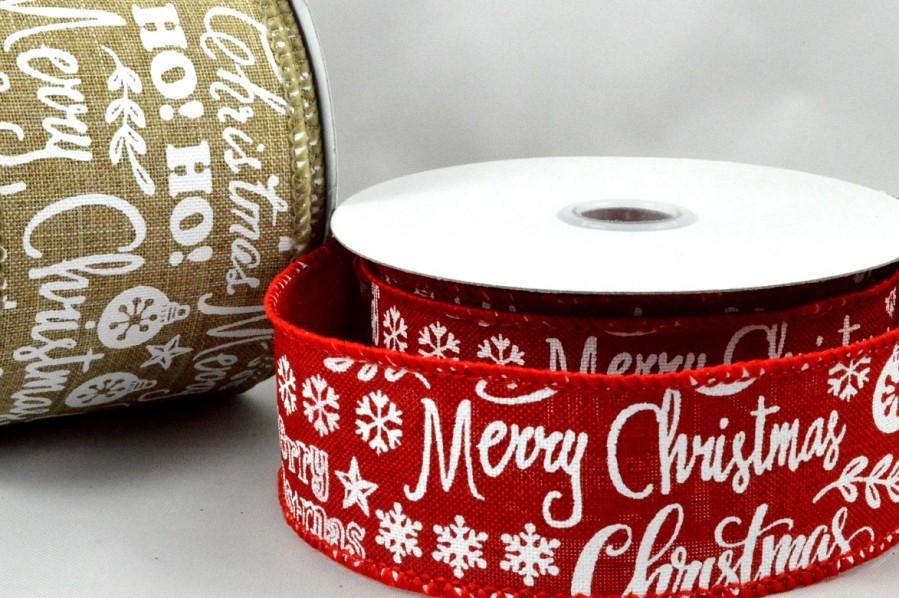 46043 - 38mm & 63mm Merry Christmas & Snowflakes Burlap Ribbon x 10 Metre Rolls!
