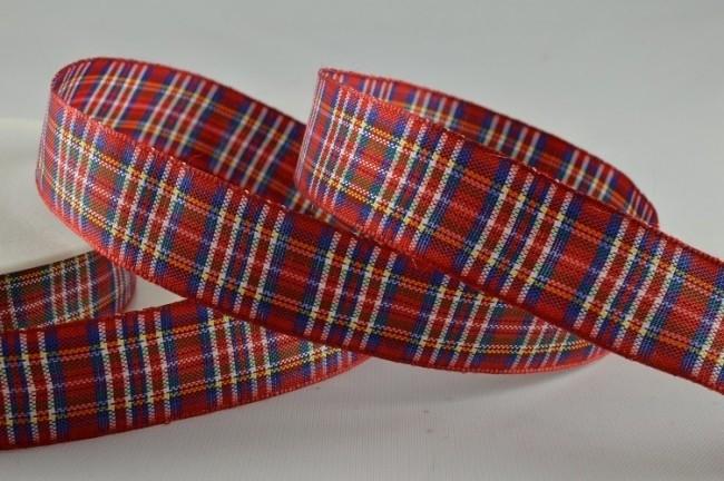 53780 - 25mm Red Tartan Ribbon (25 Metres)