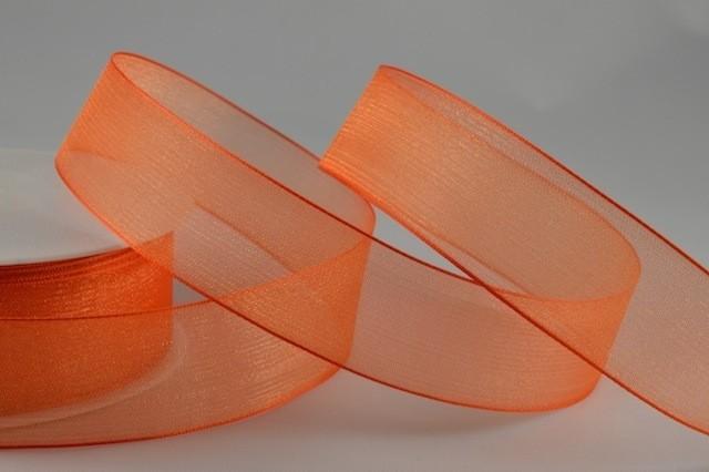 54419 - 25mm Orange Organza Sheer Ribbon x 25 Metre Rolls!