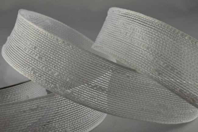 55008 - 25mm White Colour Woven Slub Ribbon (10 Metres)