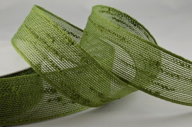 55008 - 25mm Green Colour Woven Slub Ribbon (10 Metres)