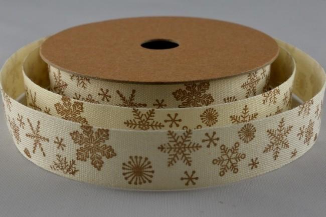 55012 - 15mm Snowflake Printed Cotton Ribbon (10 Metres)-15mm-50 Cream-10 Metres