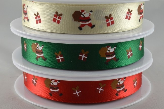 55017 - 15mm Santa & Presents Satin Ribbon (20 Metres)