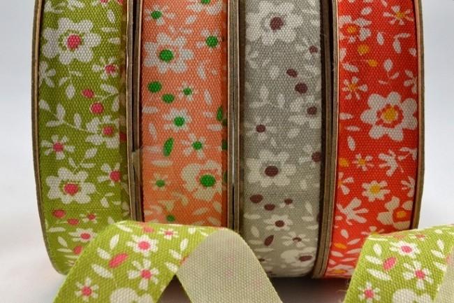 55019 - 15mm Coloured Floral Cotton Ribbon x 10 Metre Rolls!