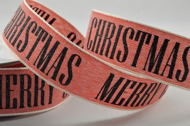 55044 - 25mm Red & Black Merry Christmas Block Printed Ribbon x 10 Metre Rolls!!