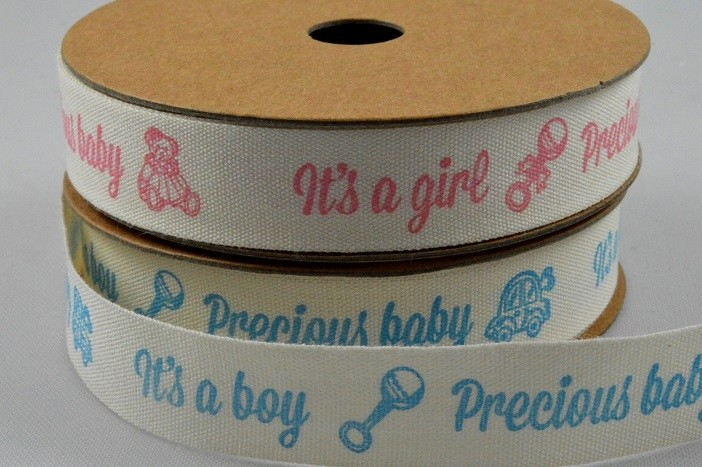 55070 - 15mm Cotton Baby Girl / Boy Ribbon x 10 Metre Rolls!