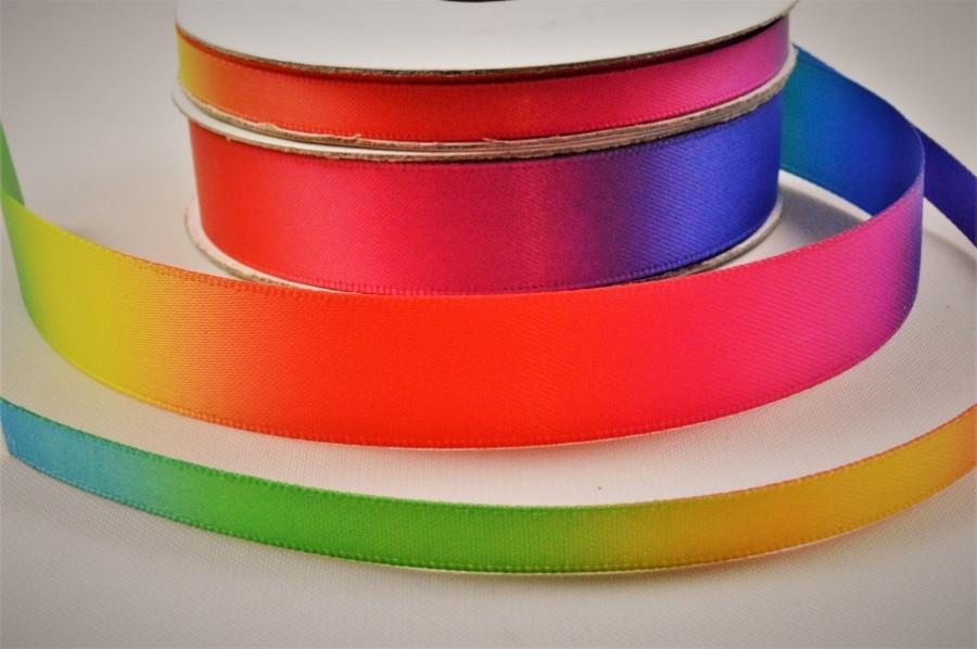 55077 - 6mm & 15mm Rainbow Double Satin Ribbon x 10 Metre Rolls!