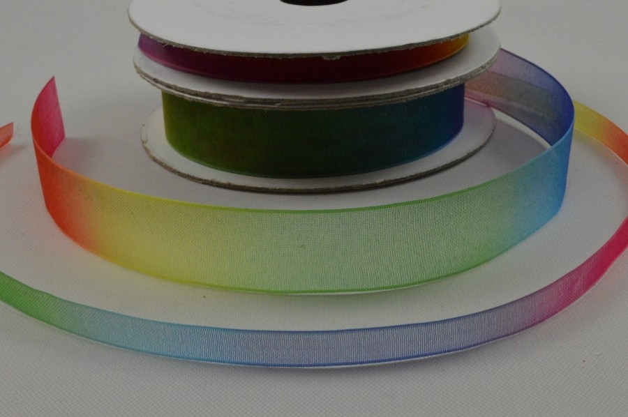 55078 - 6mm & 15mm Rainbow Sheer Organza Ribbon x 10 Metre Rolls!