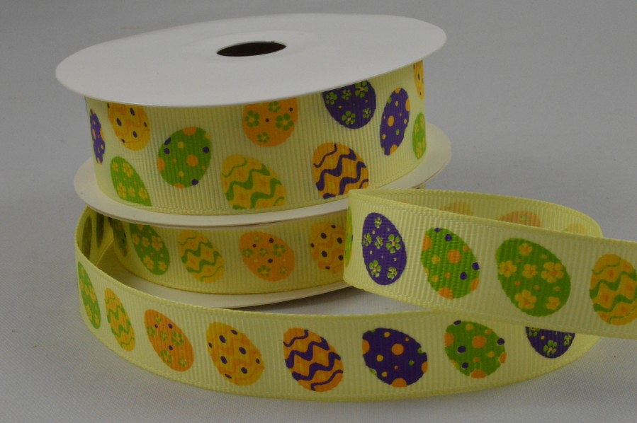 55081 - 15mm & 25mm Yellow Grosgrain Easter egg Ribbon x 10 Metre Rolls!