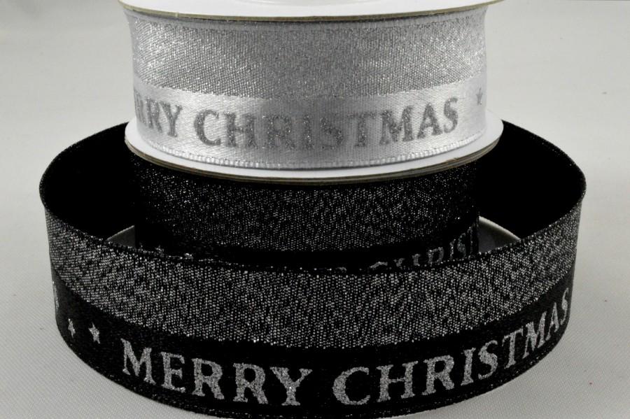 55092 - 25mm Lurex Woven Merry Christmas Ribbon x 10 Metre Rolls!