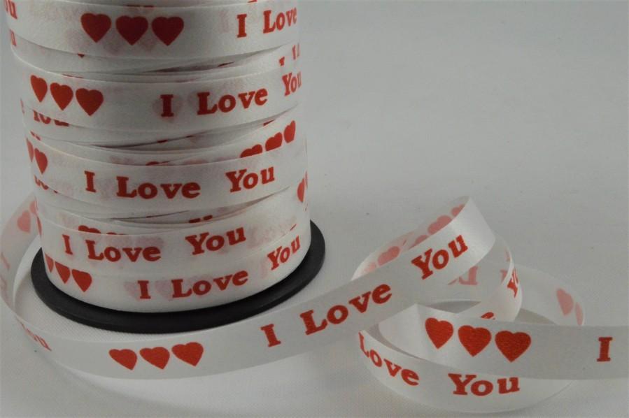 77028 - 10mm White Polypropylene I Love You Curling Ribbon x 100 Metre Rolls!!