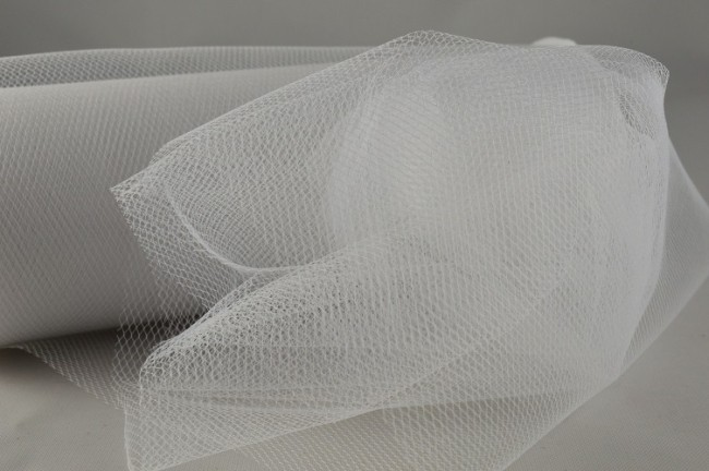 88016 - 150mm White Coloured Nylon Tulle Fabric (10 Metres)