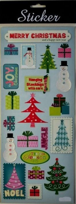 88090 - Merry Christmas Trees, Snowmen & Present Stickers