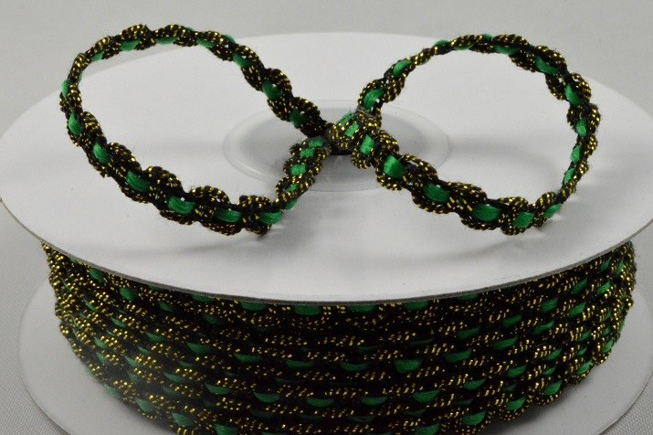 88144 - 6mm Green Thread with Waving Black & Gold Edging x 25 Metre Rolls!