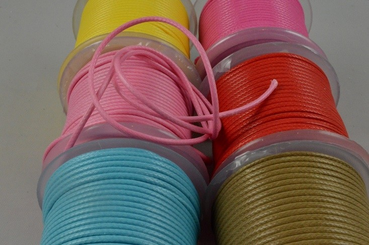 88161 - 2mm Coloured Rope Waxed Cord x 25 Metre Rolls!