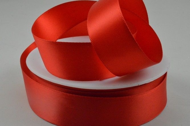 3mm, 7mm, 10mm, 15mm, 25mm, 38mm & 50mm Double Sided Satin-25mm-35 Red-50 Metres