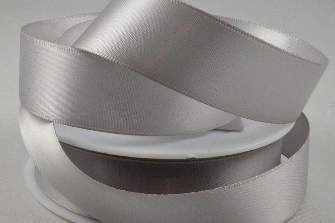 93977 - 25mm Light Silver Double Sided Satin x 25 Metre Rolls!