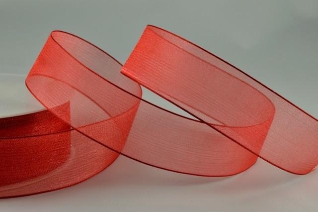 54419 - 25mm Red Sheer Organza Ribbon x 25 Metre Rolls!