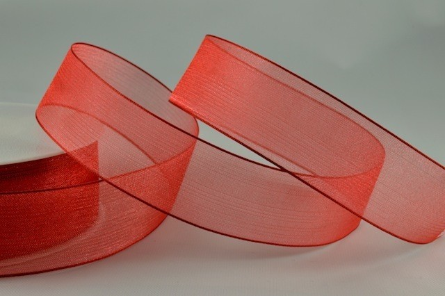 54419 - 15mm Red Sheer Organza Ribbon x 25 Metre Rolls!