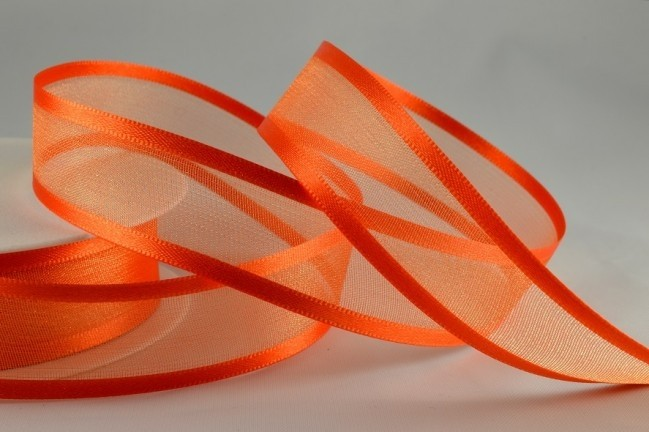 54420 - 10mm Orange Satin Sheer Ribbon x 25 Metre Rolls!