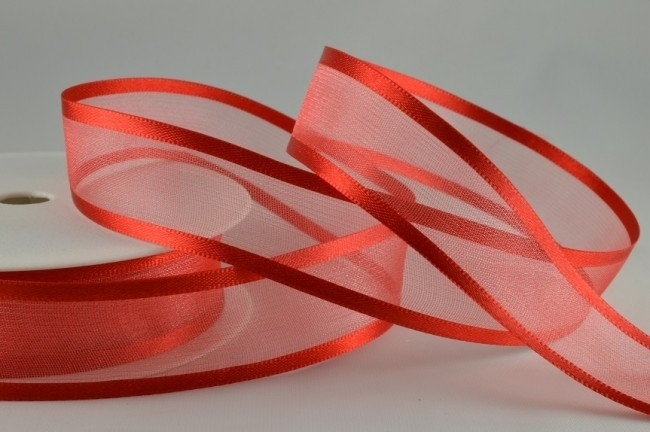 54420 - 25mm Red Satin Sheer Ribbon x 25 Metre Rolls!
