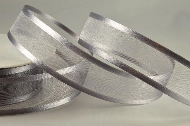 54420 - 15mm Silver Satin Sheer Ribbon x 25 Metre Rolls!