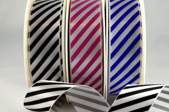 54351 - 25mm & 38mm Candy Stripe Ribbon (20 Metres & 100 Metres)
