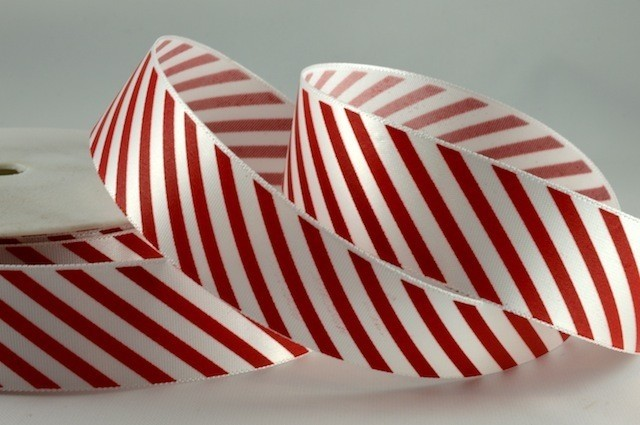 54351 - 25mm Red Candy Stripe Ribbon x 100 Metre Rolls!!