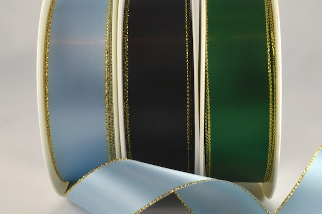 53781 - 3mm, 7mm, 15mm, 25mm, 38mm & 50mm Satin with Lurex Edge (20 Metres & 100 Metres)