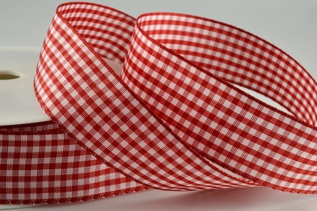 54102 - 25mm Red Gingham Ribbon x 25 Metre Rolls!