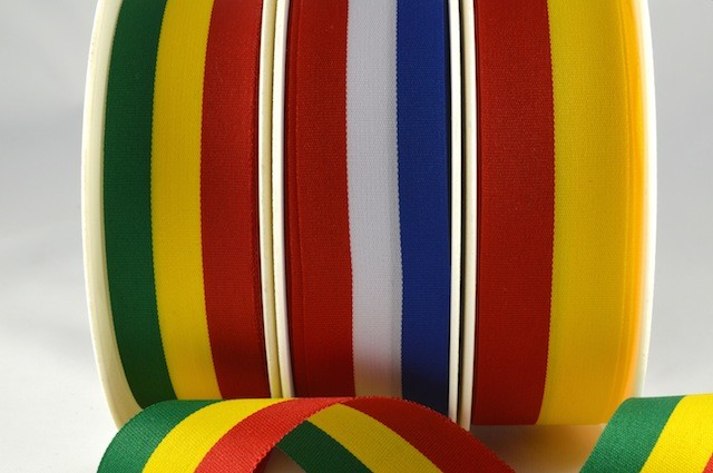 53998 - 15mm, 25mm & 40mm Striped Flag Ribbon (25 Metres/100 Metres)