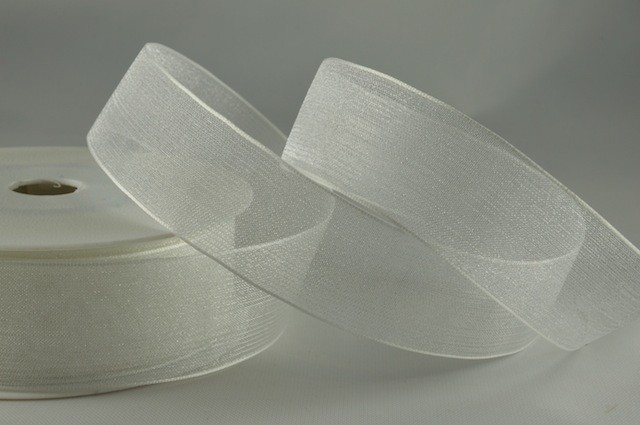 54419 - 15mm White Sheer Organza Ribbon x 25 Metre Rolls!