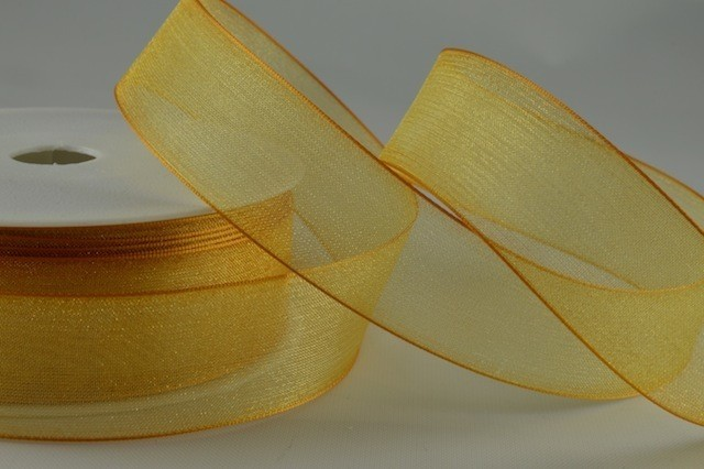 54419 - 15mm Gold Sheer Organza Ribbon x 25 Metre Rolls!