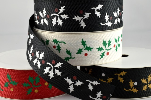 54484 - 25mm Holly & Berry Printed Ribbon (20 Metres)