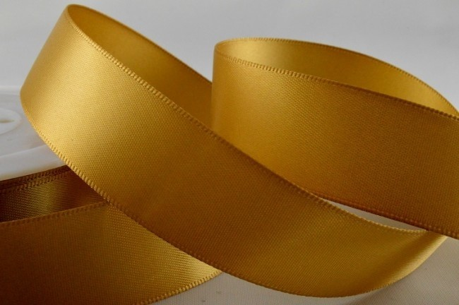 93977 - 25mm Dark Gold Double Sided Satin x 25 Metre Rolls!
