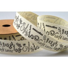 20mm Coffee Themed Cotton Printed Ribbon x 10 Metre Rolls!