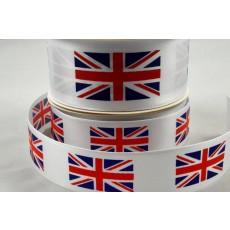 25mm & 38mm White Single Satin Great Britain Flag Ribbon x 10 Metre Rolls!
