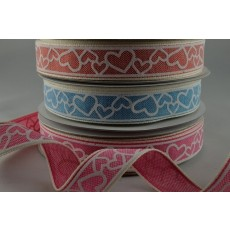 55021 - 15mm Coloured Love Heart Ribbon x 20 Metre Rolls!!