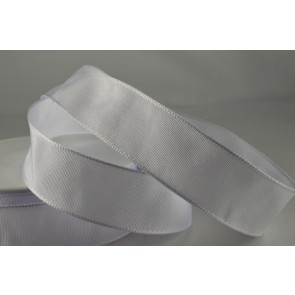 44073 - 60mm White Wired Decorative Ribbon (25 Metres)