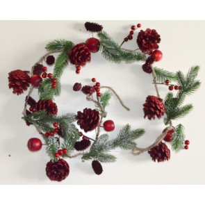22001 - Red Christmas Garlands with Pine Cones, Ice Frosting & Berries
