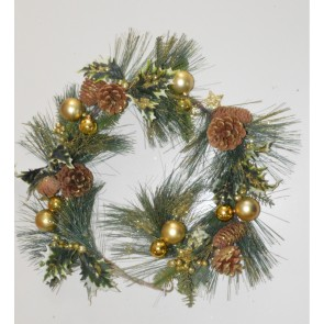 22004 - Gold Christmas Garlands with Pine Cones, Holly & Baubles