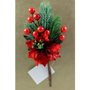 Red Berries & Leaves Christmas Pick