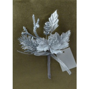 Silver Lurex Floral Christmas Pick