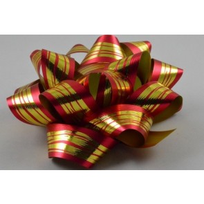 31162 - 2 x Red Golden Striped Gift Box Self Adhesive Bows!