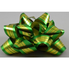31162 - 2 x Green Golden Striped Gift Box Self Adhesive Bows!