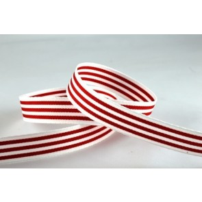 54513 - 15mm Red Colour Woven Striped Ribbon (20 Metres)